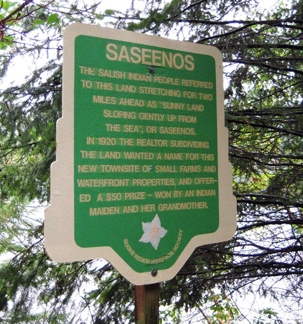 As you approach Sooke, a reminder that you are on traditional Salish territory - Galloping Goose trail