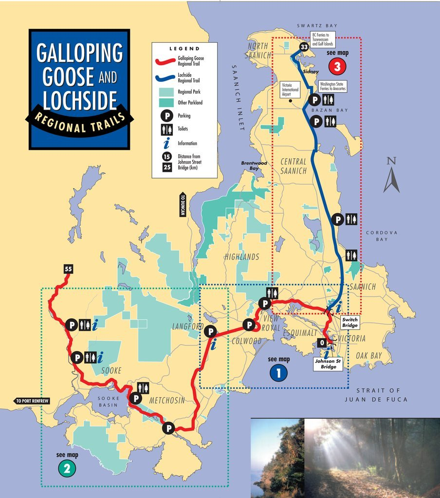 Map of Galloping Goose Trail and Lochside Trail