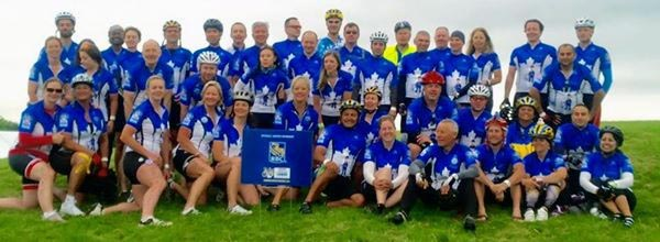 Team RBC poses for a photo at the start of the second day of the Race to Conquer Cancer in Ontario
