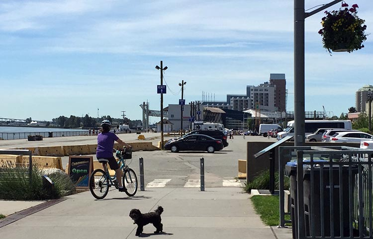 Heading in the direction of the giant tin soldier on the New Westminster Quay, and little Billy starts to worry ... you guys ARE going to back me up, right? New Westminster cycling