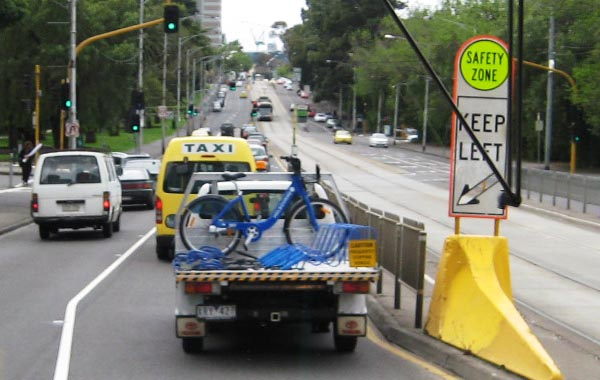 Melbourne Bike Share does seem to be well maintained - here is a bike on its way to be repaired