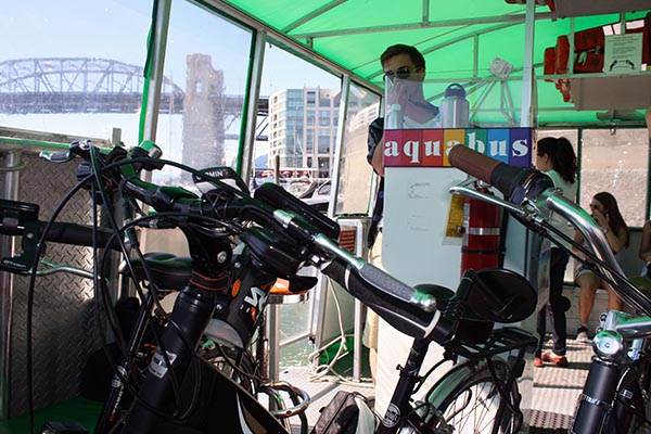 All bikes are tucked neatly at the back of the Aquabus ferry