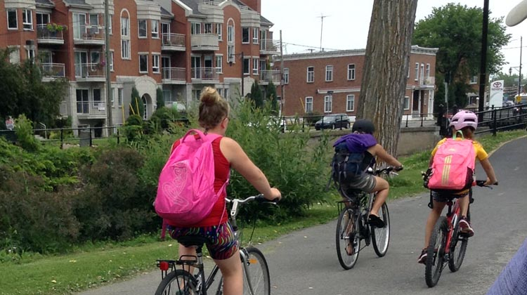 Children and teens can cycle safely on the Lachine Canal Bike Path