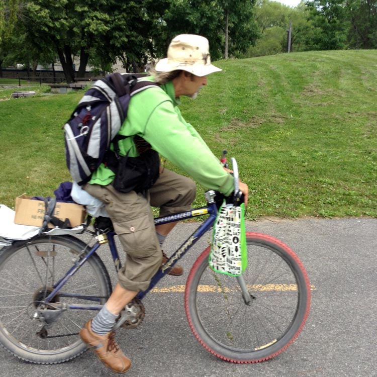 Interesting bikes, interesting people, on the Lachine Canal Bike Path
