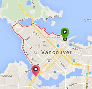 Map - Convention Center to Granville Island in Vancouver, via the Seaside Bike Route and an Aquabus Ferry Ride