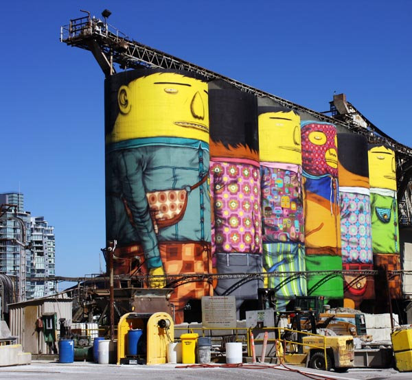 Six concrete silos transformed by Brazilian street artists at Granville Island, Vancouver