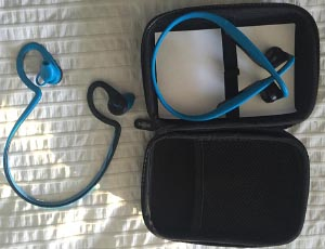 The Aftershokz Trekz Titanium come with a neat little zippered storage case. It is hard sided, and I use it to carry all my headphones around. I switch from Aftershokz (on the right) to Plantronics (on the left) after I finish my bike ride to work. And yes, my secret is out - I like blue! How to Choose the Safest Headphones for Cycling