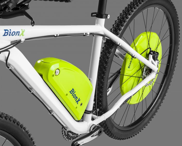 My book includes a reiview of the magnificent BionX electric bike kit, which comprises an integrated motor in the rear wheel hub, a powerful lithium battery, and a controller