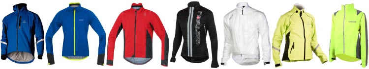 7 of the best waterproof cycling jackets. From left to right: Showers Pass Elite 2.1 Waterproof Cycling Jacket; Gore Bike Wear Power Gore-Tex Active Jacket; Gore Bike Wear Oxygen 2.0 Gore-Tex Active Shell Cycling Jacket; Castelli Confronto Cycling Jacket; Showers Pass Pro Tech ST Cycling Jacket; Showers Pass Club Pro Cycling Jacket; Proviz Nightrider Cycling Jacket