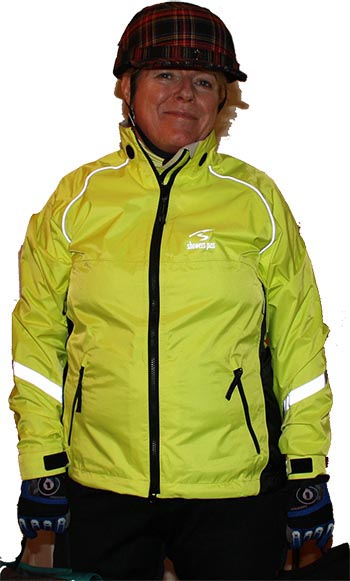 Mrs. Average Joe Cyclist's favorite cycling jacket is her Showers Pass Club Pro, which is bright yellow and has many reflective accents. It is a great example of dressing up in color to make yourself more visible