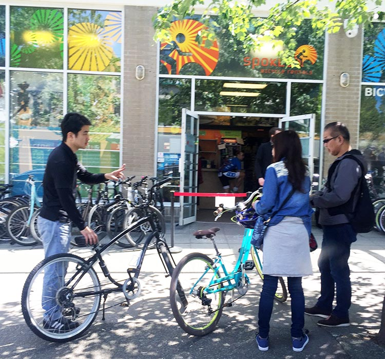Spokes Rentals in Vancouver, near Stanley Park, does a roaring trade in bike rentals in the summer - grab a bike and set off for an adventure!