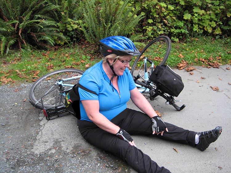 Then I found this photo of my wife Maggie, when she had simply fallen over after cycling 40 miles in one day - and she just laughed it off, got back up, and kept on pedaling
