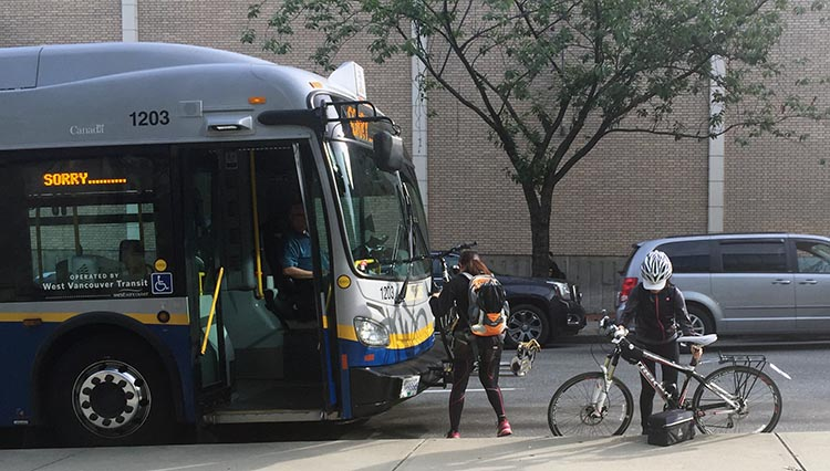 it is theoretically possible to get your bikes to Tsawwassen on a bus, but as most bikes only take 3 bikes, this could take a while.