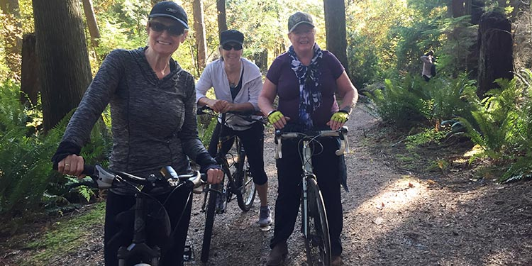 The Traboulay Poco trail will bring a smile to everyone's face. This photo was taken on a beautiful fall day, when I was lucky enough to cycle the trail with Maggie, plus good friends Zee and Calli from My Matcha Life