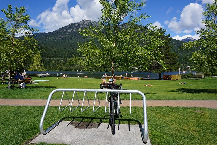 Most of the lakes offer bike parking along the Whistler Valley Trail