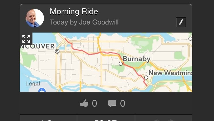 You can use the Strava app on your phone to review stats on completed rides. Average Joe Cyclist Beginner Cyclist training plan