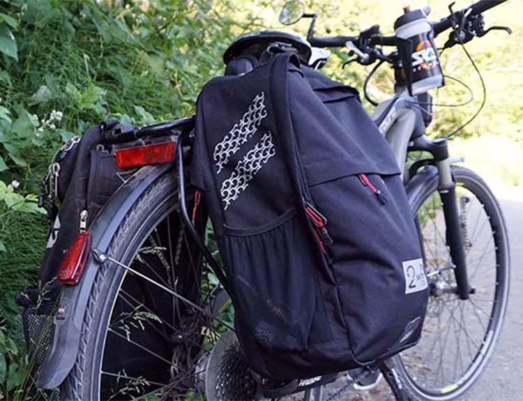 The Two Wheel Gear Convertible Pannier Backpack on the back of my commuter bike. Two Wheel Gear Pannier Backpack Convertible Review