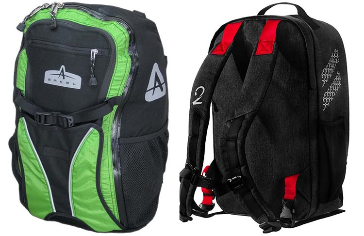 Two convertible backpack/panniers compared. The Arkel Bug is on the left; the Two Wheel Gear Convertible is on the right. Two Wheel Gear Pannier Backpack Convertible Review