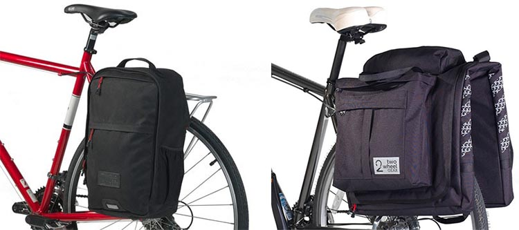 Two Wheel Gear Pannier Backpack Convertible vs The Two Wheel Gear Classic 2.0 Garment Pannier is on the left; the Classic 2.0 Garment Pannier is on the right. Two Wheel Gear Pannier Backpack Convertible Review