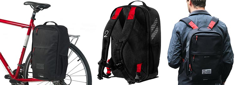 Two Wheel Gear Pannier Backpack in three phases - on the bike, on its own, and on a back. Two Wheel Gear Pannier Backpack Convertible Review