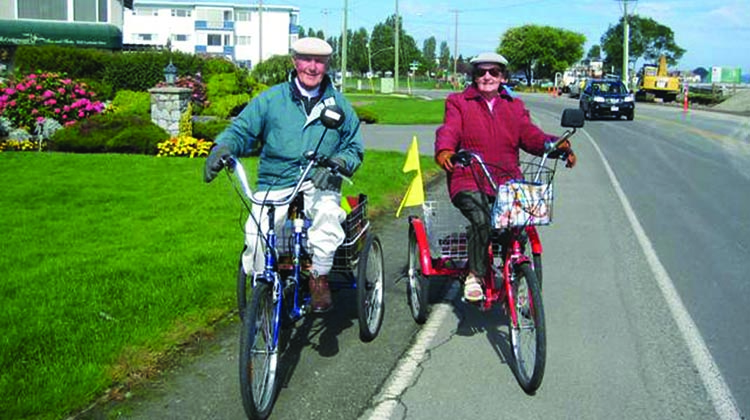 We met these two on the Lochside Trail. Marge and Dennis ride their trikes on this AAA (all ages and abilities) trail every day.