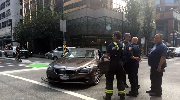 Here's a crash that happened when a driver decided to ignore (or simply was too careless to notice) the sign that says that cars cannot turn right (across the cycle lane) at this intersection. The cyclist was taken away in an ambulance, the motorist was somewhat inconvenienced
