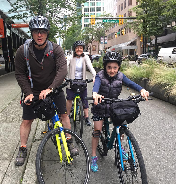 Here's a family from Brazil, on rented bikes. I met these tourists as they set out on Vancouver's separated bike lane on Hornby Street. This would NEVER have happened before Vision Vancouver pushed through the safer, separated bike lanes. The amazing evolution of Vancouver cycling infrasructure