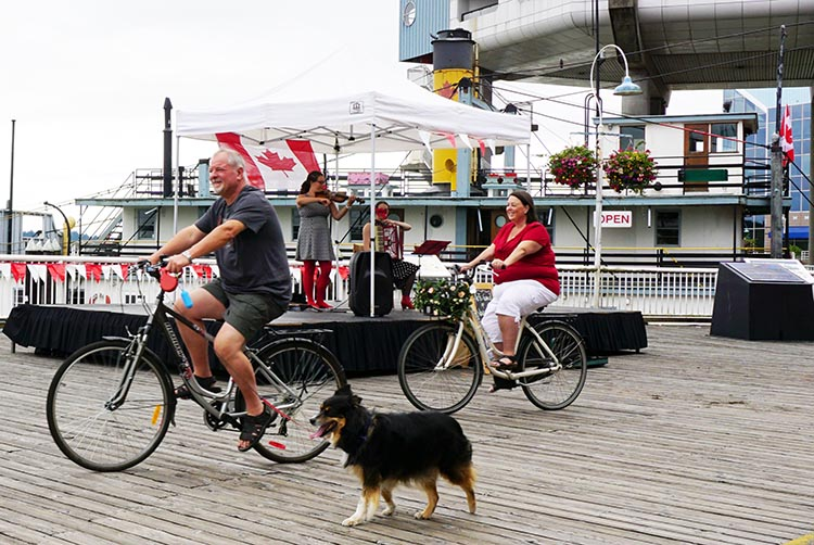 Often there will be musical entertainment while you eat at restaurants on New Westminster Quay. New Westminster cycling