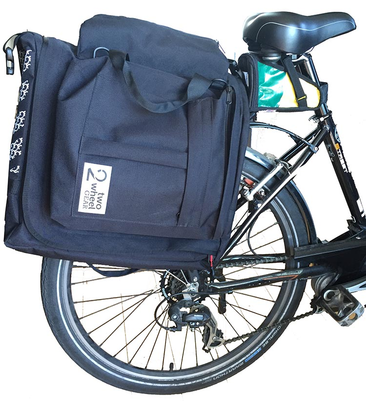 Here's the Two Wheel Gear Classic 2.0 Garment Pannier on the back of Maggie's bike. Two Wheel Gear Classic 2.0 Garment Pannier Review