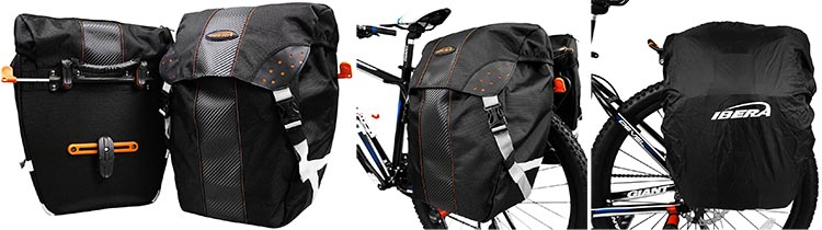 7 of the Best Bike Panniers. The Ibera Pakrak Panniers ship as a set of two high-capacity panniers, with rain covers included. The picture on the far right shows the rain cover