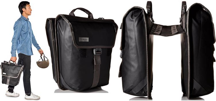 The Timbuk2 Tandem Pannier Bags are highly rated, very affordable, extremely water resistant panniers that perform as saddle bags on the bike and convert into a shoulder bag or briefcase off-bike