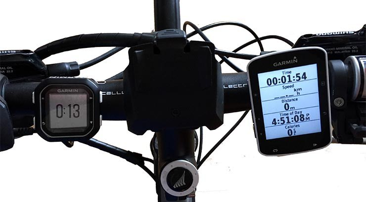 Garmin Edge 520 vs 25 Bike Computers. Garmin claims the Garmin Edge 25 is the smallest GPS-compatible bike computer in the world. You can see the size difference on my handlebars here - the Garmin Edge 25 is on the left, while the Garmin Edge 520 is on the right. Although the Garmin Edge 520 is relatively large, it is still small, and has the best hand-feel I have experienced yet in a Garmin Edge, feeling smooth, slim and light