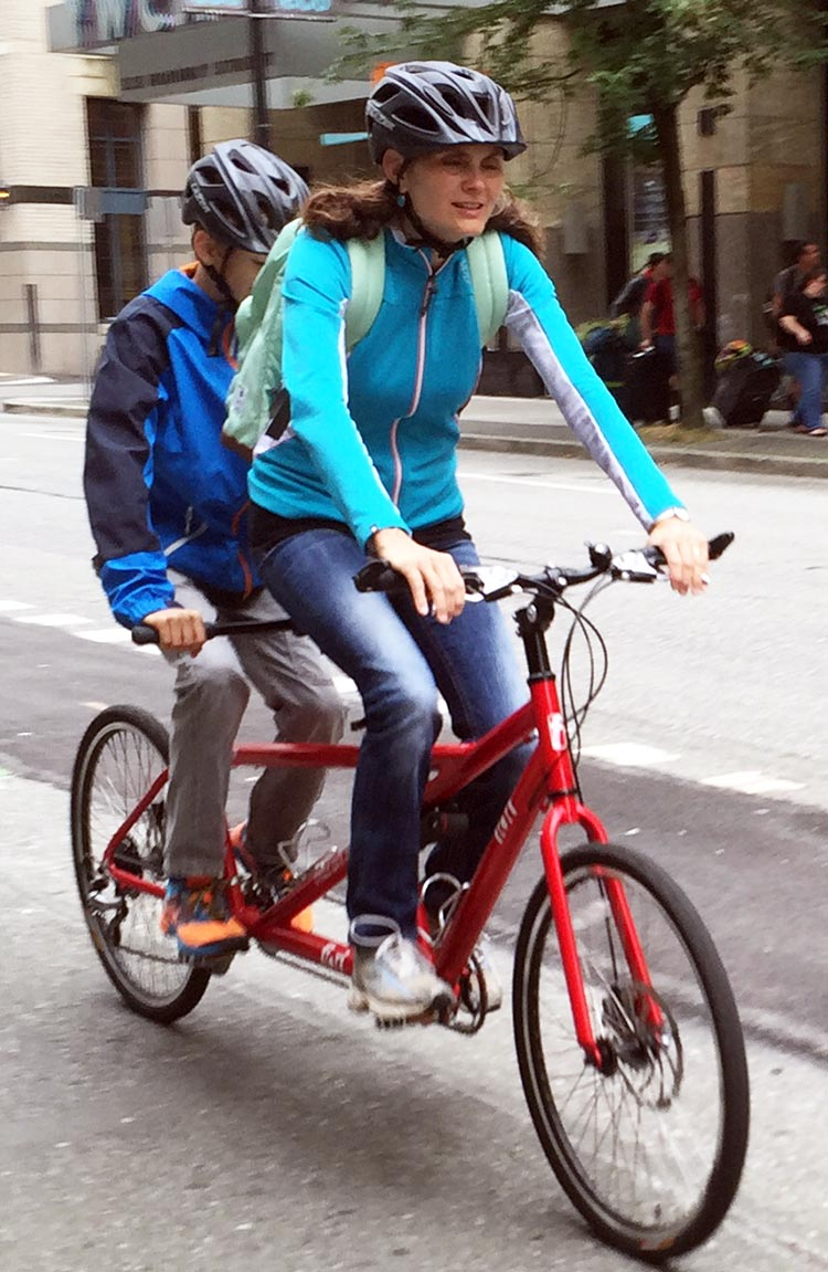 At some point your child will get old enough to share a tandem with you - and if you are very lucky, he or she will still want to!