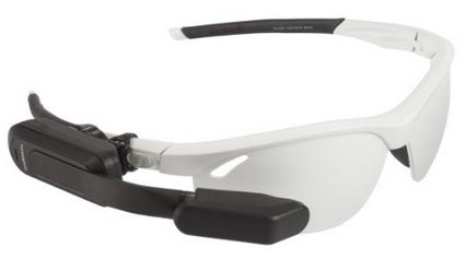 This illustration shows the Garmin Varia Vision attached to a pair of cycling glasses
