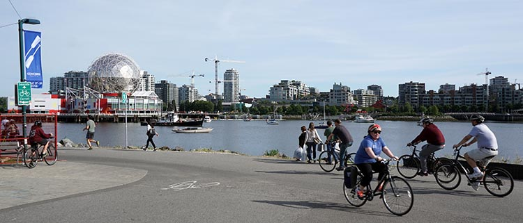 Don't let cycling knee pain deprive you of the joy of cycling! This photo shows the Seaside Bike Route in Vancouver. There's a video of this route here