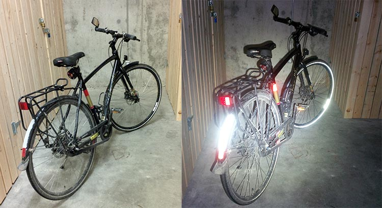 These photos show how a couple of carefully placed bike reflectors can light up a bike