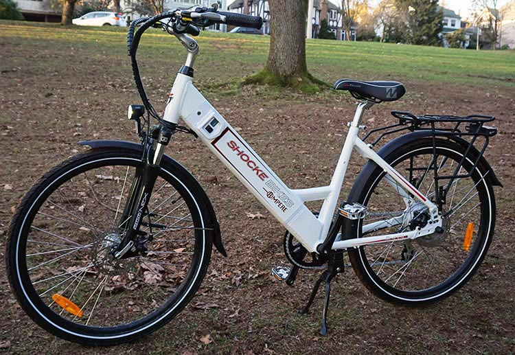 A Guide for Fat Cyclists. This Ampere Electric Bike is strong, and has a Dutch-style step-through frame for easy mounting and dismounting. guide for fat cyclists