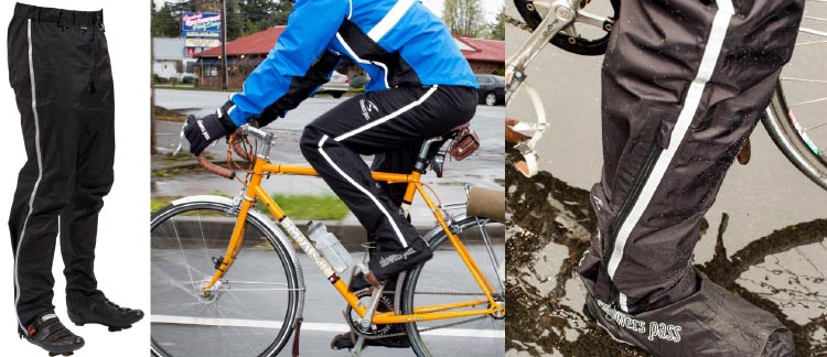 Best Waterproof cycling gear. The Showers Pass Transit Pants have ankle zips for easy on-off over shoes.