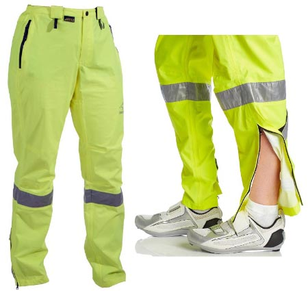 These Showers Pass Visible Pants are highly visible; and have a zip on the lower leg to make it easy to get the pants on and off over. The pants in the photo are the women's version, which have a women-specific cut. 7 of the Best Waterproof Cycling Pants - How to Choose the Best Cycling Pants
