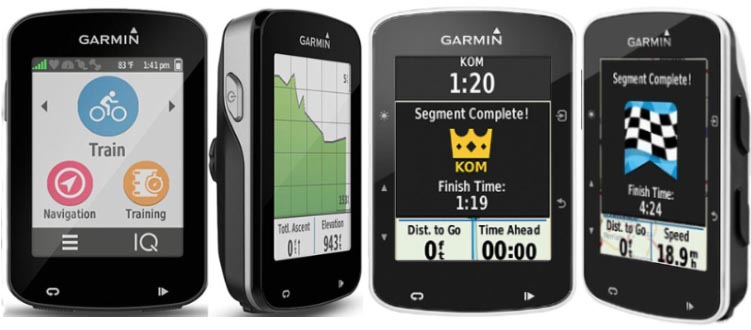 There are 9 key differences between the Garmin Edge 820 and the Garmin Edge 520. This picture shows two views of the Edge 820 on the left, and two views of the Edge 520 on the right. Both have beautiful color screens and tons of shared features, including top-of-class training features