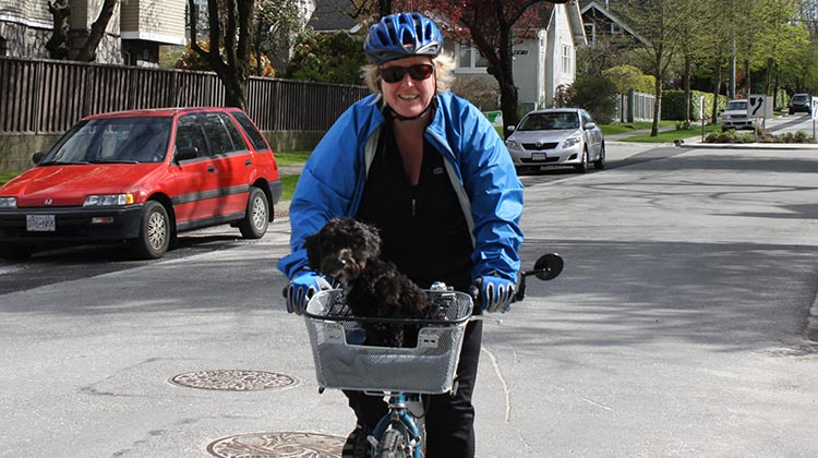 7 of the best women's cycling jackets. Joe took this photo of me enjoying a bike ride with our dog, Billy