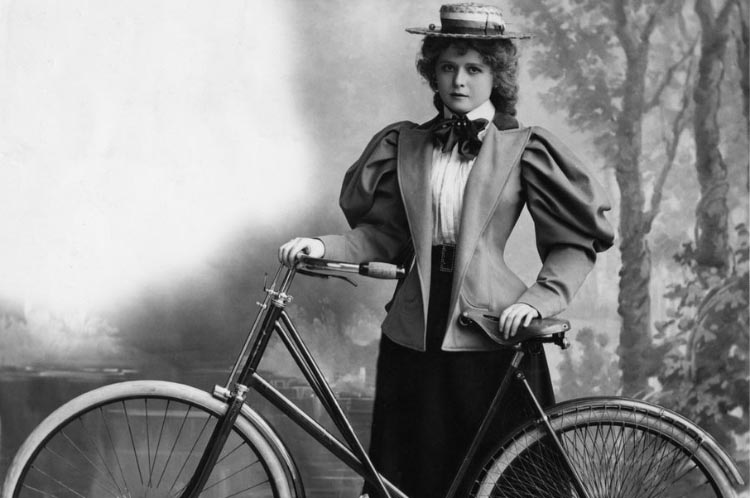 "Women were cautioned against developing ""bicycle face"" - a tired, haggard, dust-encrusted visage that would make them seem undesirable to prospective suitors. This woman rider from 1895 apparently avoided this dire fate. Hulton Archive/Getty Images"