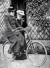 19th century suffragist Frances Willard (1839-1898), learning to ride a bicycle in New York city. Cycling into the future!