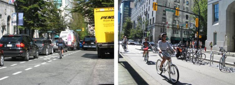 The Amazing Evolution of Vancouver Cycling Infrastructure. Biking on Hornby St - on the left, BEFORE the separate bike lane was built, on the right, AFTER it was built. The amazing evolution of Vancouver cycling infrastructure