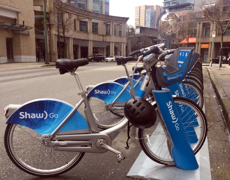 The Amazing Evolution of Vancouver Cycling Infrastructure. Shaw Communications has joined Mobi as a partner. This is reflected in the rebranding on the bikes