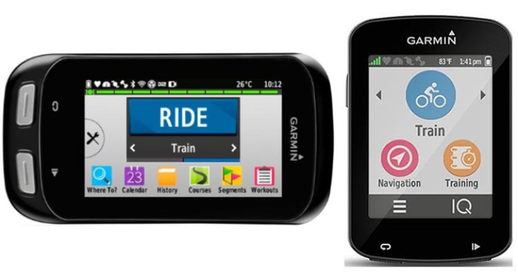 Here are the Garmin Edge 1000 and 820 side by side, with the Edge 1000 in landscape mode (a feature not available on the 820). Garmin Edge 1000 vs 820