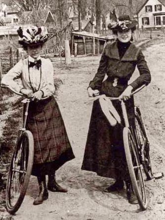 Women wearing bloomers and shorter skirts came into fashion at just about the same time as bicycles, and they'd have had you believe that it was a simple coincidence