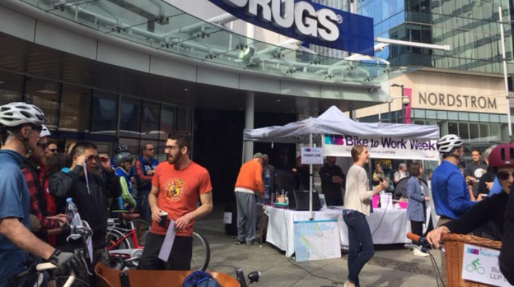 Participants gathered at London Drugs in downtown Vancouver to compare commute times