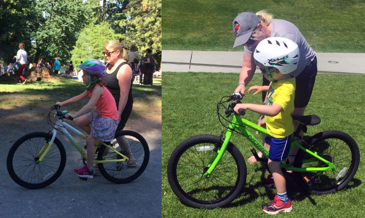 I now spend my weekends with Maggie, teaching my grandkids how to ride bikes! Here's Maggie with our granddaughter Kara, and our grandson Connor