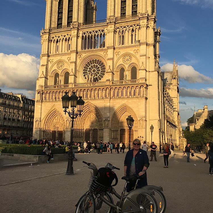We loved exploring Paris with Velib bikes. Here is Maggie with our two Velib bikes, outside Notre Dame Cathedral. How to Use a Velib Bike in Paris